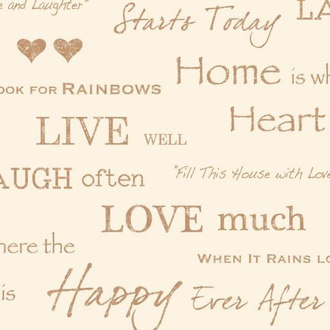 I Love Wallpaper Shimmer Wall Quotes Wallpaper Cream