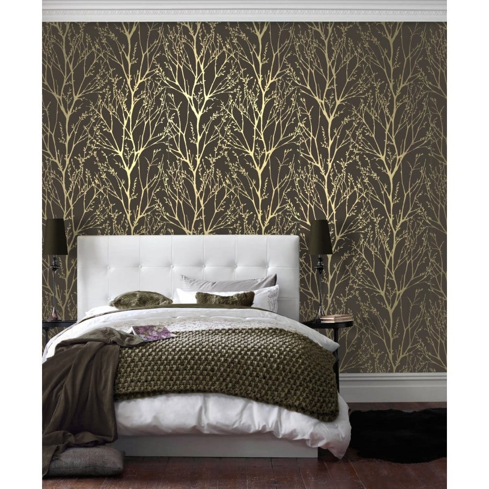 I Love Wallpaper Shimmer Wallpaper Metallic Gold / Brown ...