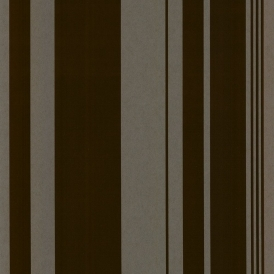 Sidney Stripe Flock Wallpaper Chocolate Brown