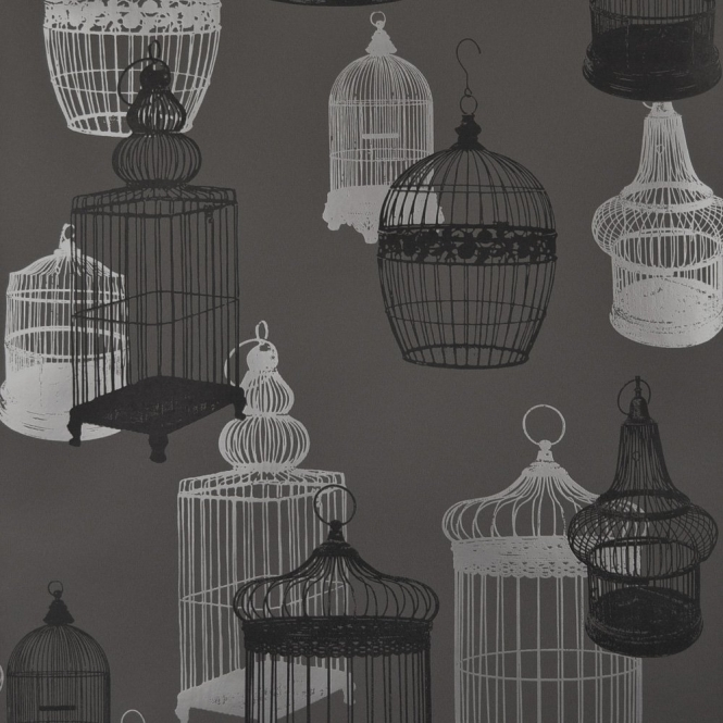 Designer Selection Silhouette Birdcage Wallpaper Charcoal / Silver (967-897-011)