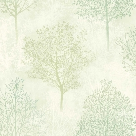 Silva Woods Tree Motif Wallpaper Cream Green