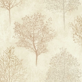Silva Woods Tree Motif Wallpaper Neutral Rust