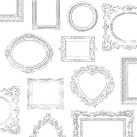 Silver Frames Wallpaper White Silver