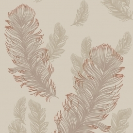 Sirius Feather Wallpaper Rose Gold