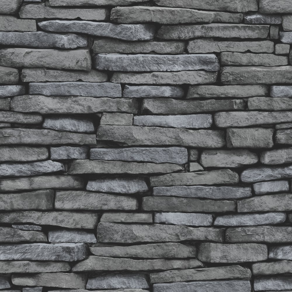 Cornish Stone Effect Wallpaper From B Q: Fine Decor Slate Effect Wallpaper Black / Charcoal