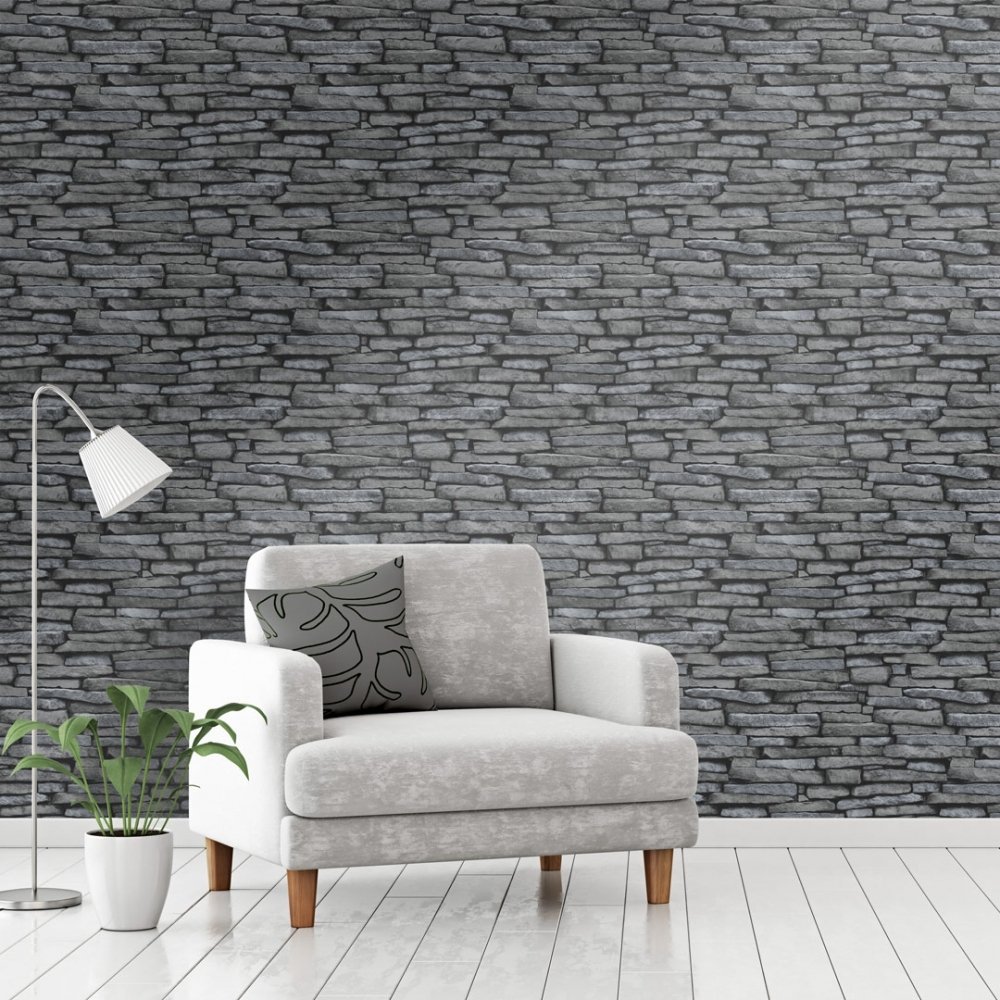 Slate Effect Wallpaper Black Charcoal