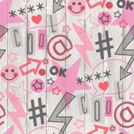 Social Media Kids Wallpaper Pink Grey