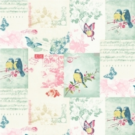 Songbirds Motif Wallpaper Multicoloured