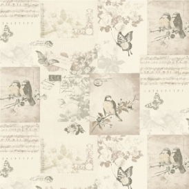 Songbirds Motif Wallpaper Neutral