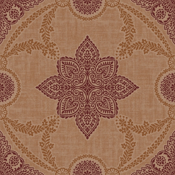 Sophie Conran Anise Medallion Flock Wallpaper Copper (900404)
