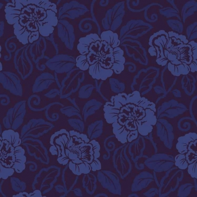 Sophie Conran Belle Floral Flock Wallpaper Royal Blue (980508)