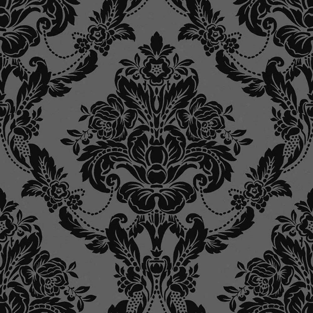 Palais Damask Wallpaper Black Velvet 980609