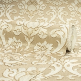 Sorrentino Textured Damask Wallpaper Gold