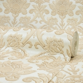 Sorrentino Textured Damask Wallpaper Natural