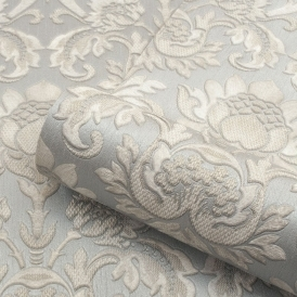 Sorrentino Textured Damask Wallpaper Silver