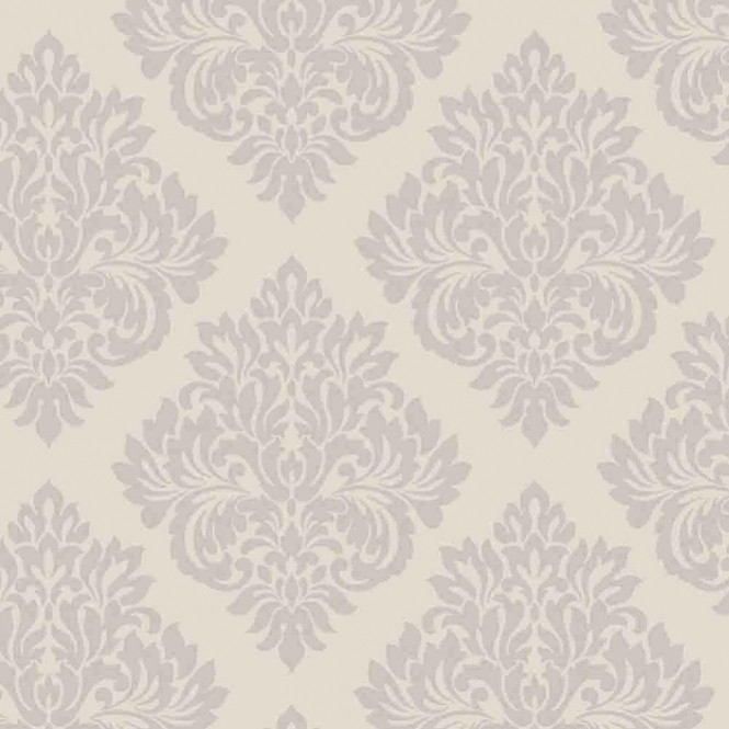 Decorline Sparkle Damask Wallpaper Putty / Silver (DL40193)