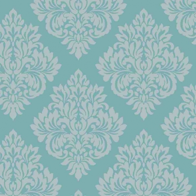 Decorline Sparkle Damask Wallpaper Teal / Silver (DL40203)