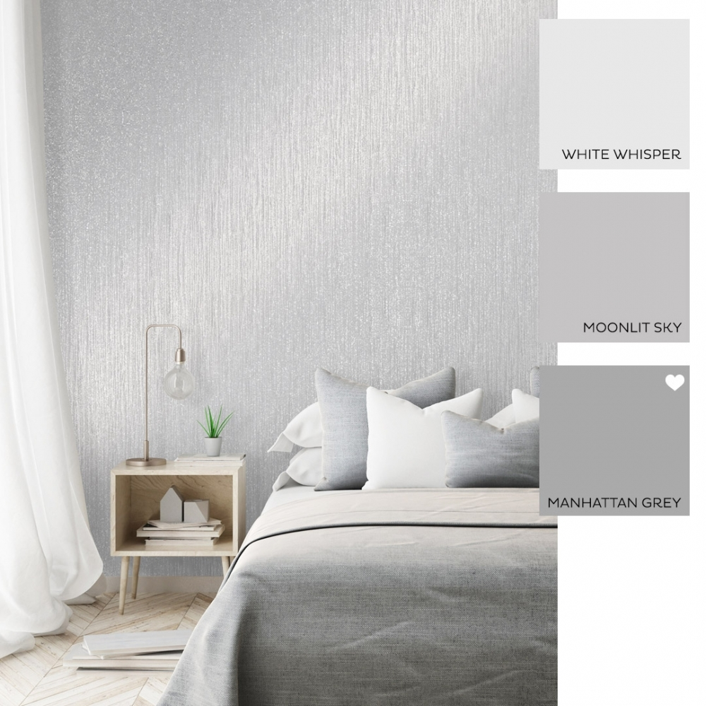Sparkle Plain Texture Wallpaper Grey
