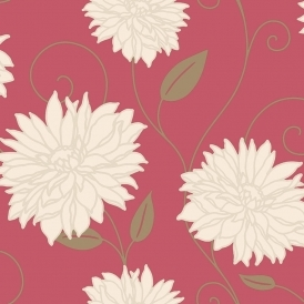 Starflower Floral Wallpaper Red (M0610)