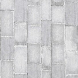 Stitched Patchwork Effect Tile Wallpaper Grey
