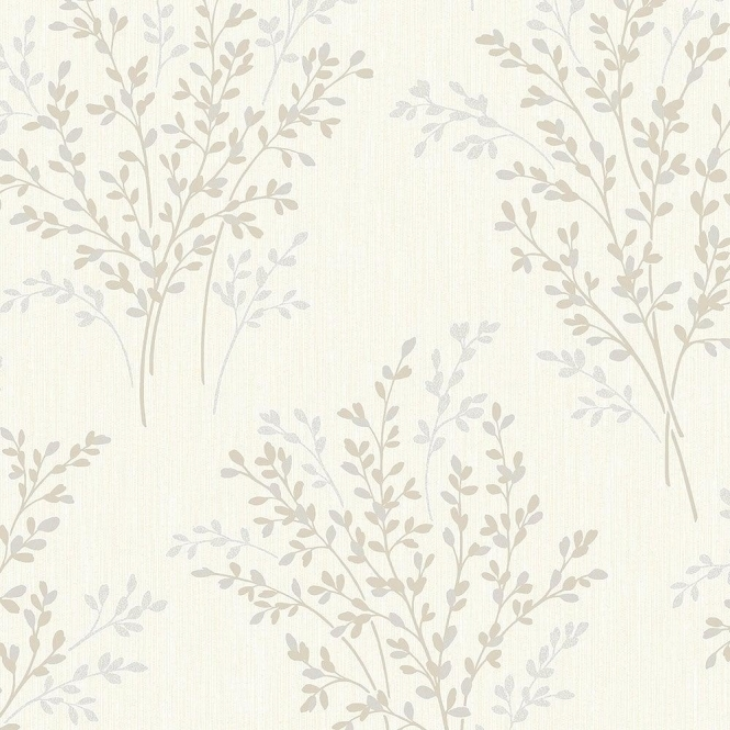 Fine Decor Summer Blossom Textured Glitter Wallpaper Beige, Cream (FD40892)