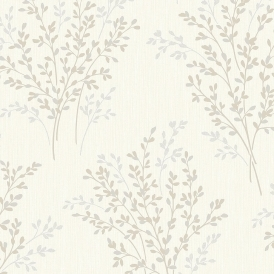 Summer Blossom Textured Glitter Wallpaper Beige Cream