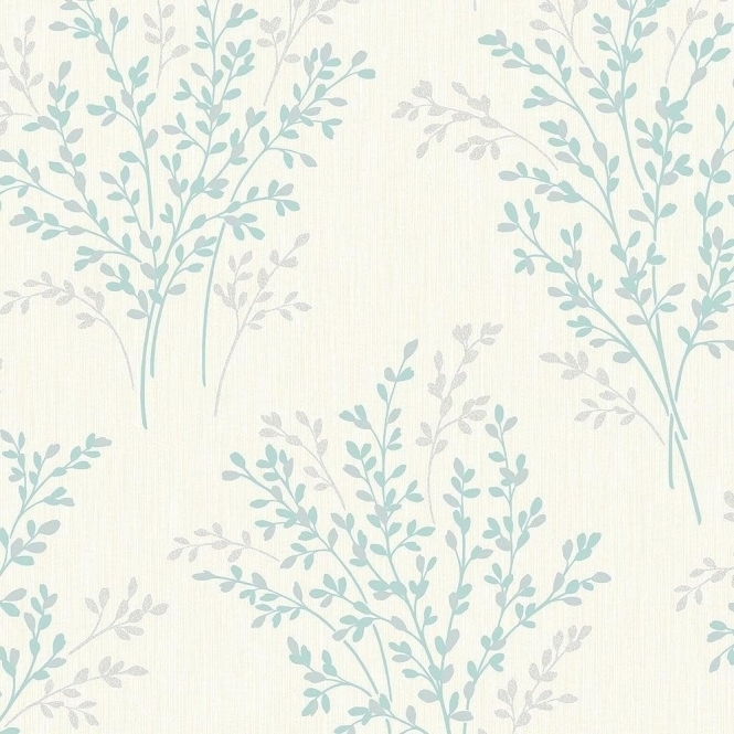 Fine Decor Summer Blossom Textured Glitter Wallpaper Cream / Teal (FD40891)