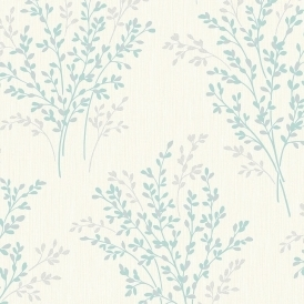 Summer Blossom Textured Glitter Wallpaper Cream, Teal (FD40891)