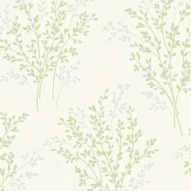 Summer Blossom Textured Glitter Wallpaper Green / Cream (FD40893)