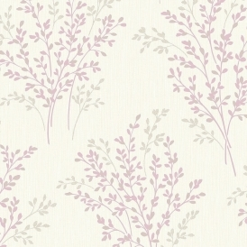Summer Blossom Textured Glitter Wallpaper Lavender Cream