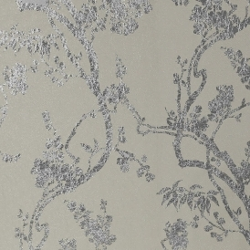 Sundown Foil Floral Wallpaper Dove Grey Silver