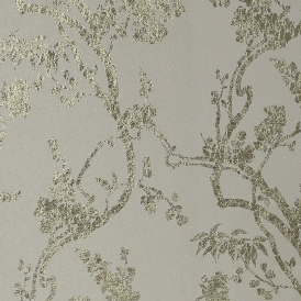 Sundown Foil Floral Wallpaper Natural Gold