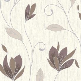 Synergy Glitter Floral Wallpaper Cream Brown Silver
