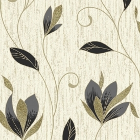Synergy Glitter Floral Wallpaper Cream Gold Black