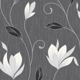 Synergy Glitter Floral Wallpaper Ebony Black White Silver