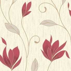 Synergy Glitter Floral Wallpaper Rich Red Cream Gold