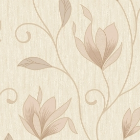 Synergy Glitter Floral Wallpaper Soft Gold Cream Beige