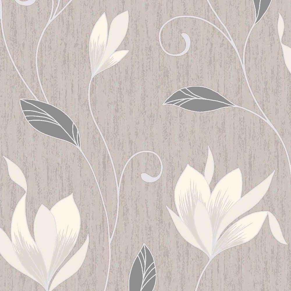 Vymura Synergy Glitter Floral Wallpaper Taupe Cream