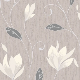 Synergy Glitter Floral Wallpaper Taupe Cream Silver