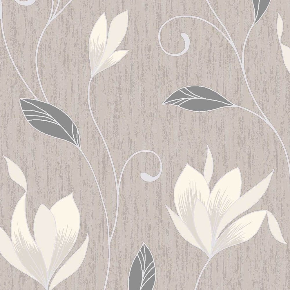 Synergy Glitter Floral Wallpaper Taupe Cream Silver Wallpaper