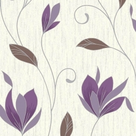 Synergy Glitter Floral Wallpaper White Silver Plum