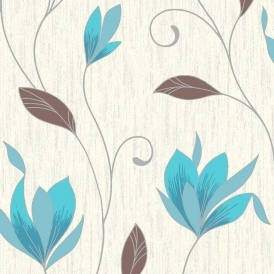 Synergy Glitter Floral Wallpaper White Teal Silver