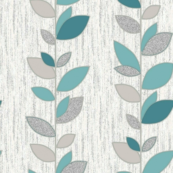 Crown Synergy Leaf Wallpaper Teal