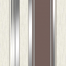 Synergy Striped Wallpaper Brown Silver White