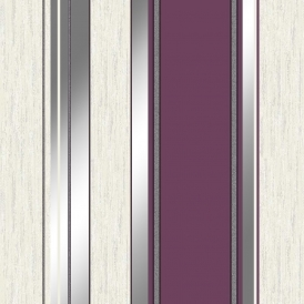 Synergy Striped Wallpaper Purple White Silver