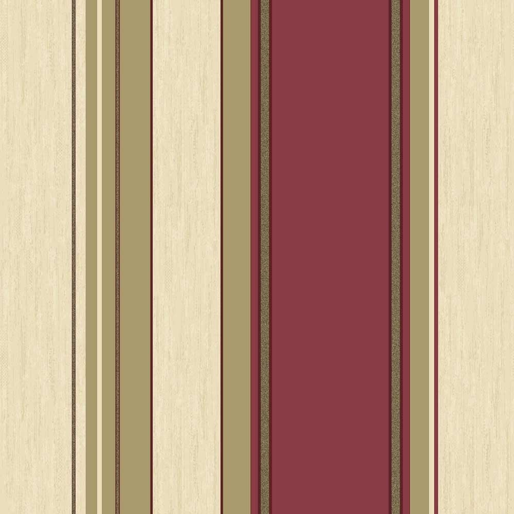 Crown Synergy Striped Wallpaper Rich Red Cream Gold