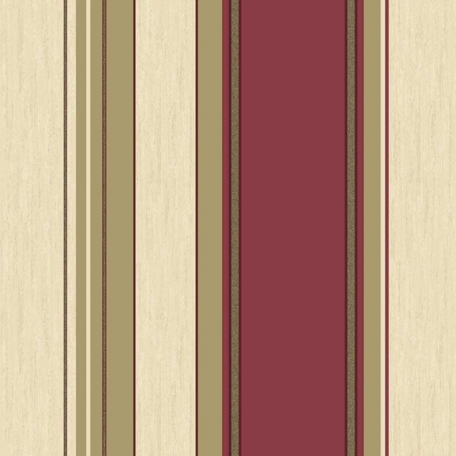 Crown Synergy Striped Wallpaper Rich Red, Cream, Gold (M0803)