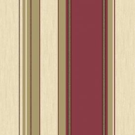 Synergy Striped Wallpaper Rich Red Cream Gold