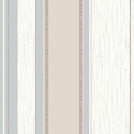 Synergy Striped Wallpaper Taupe / Cream / Silver (M0784)