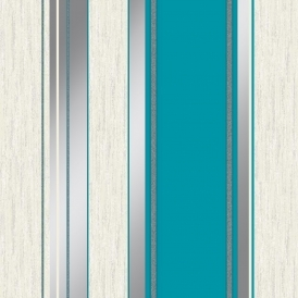 Synergy Striped Wallpaper Teal White Silver